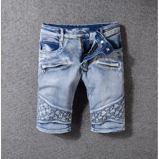 BALMAIN男士牛仔褲 巴爾曼丹寧牛仔短褲 Short Jeans水洗後袋特色 丹寧牛仔短褲 破洞牛仔褲 五袋褲