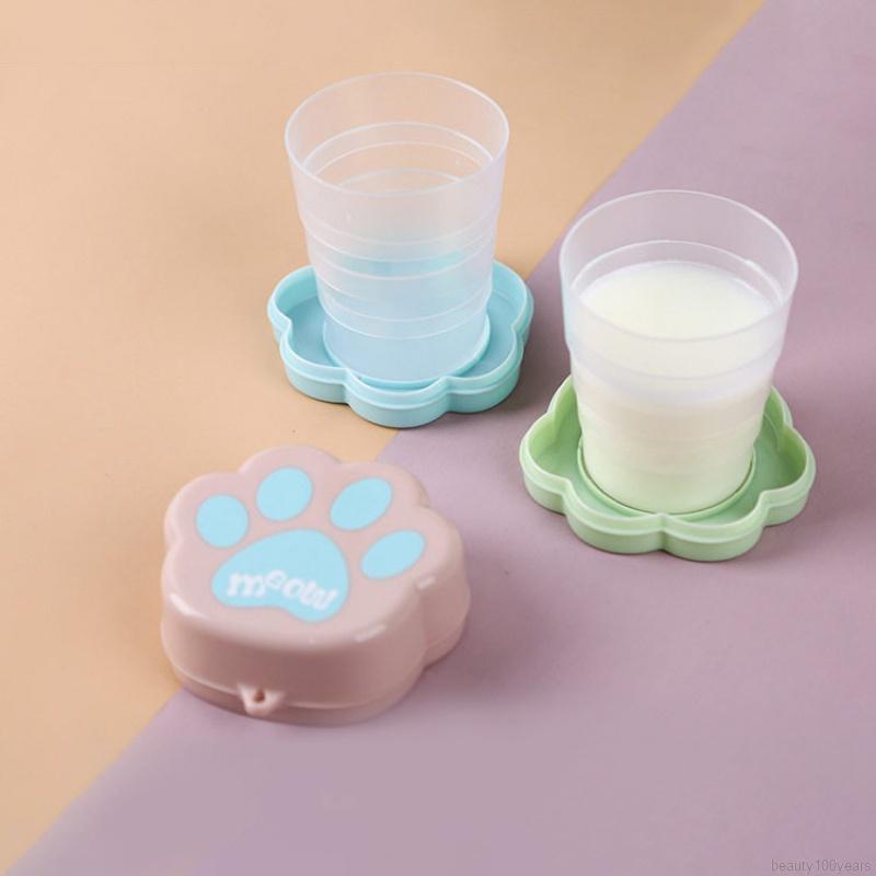 可愛的伸縮式便攜式折疊杯帶蓋旅行戶外咖啡杯兒童旅行飲料水杯飲料工具 1pcs