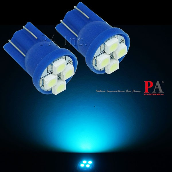 【PA LED】T10 4晶 3528 SMD LED 冰藍光 小燈 倒車燈 儀表燈 定位燈 牌照燈 室內燈