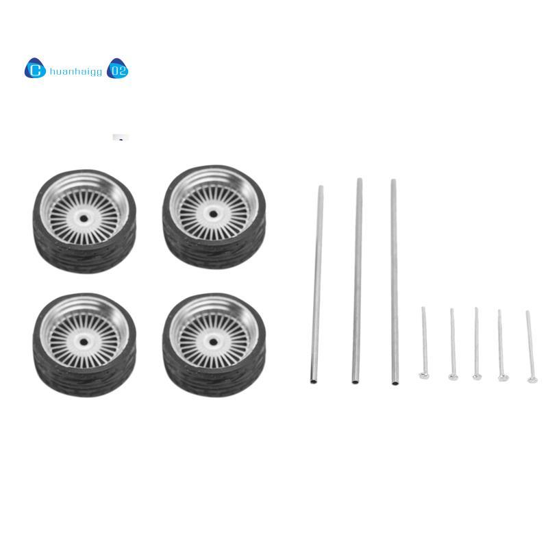 4 件 1/64 比例合金輪轂輪胎合金模型車通用改裝輪胎適用於 1:64 車輛通用模型輪胎 B1