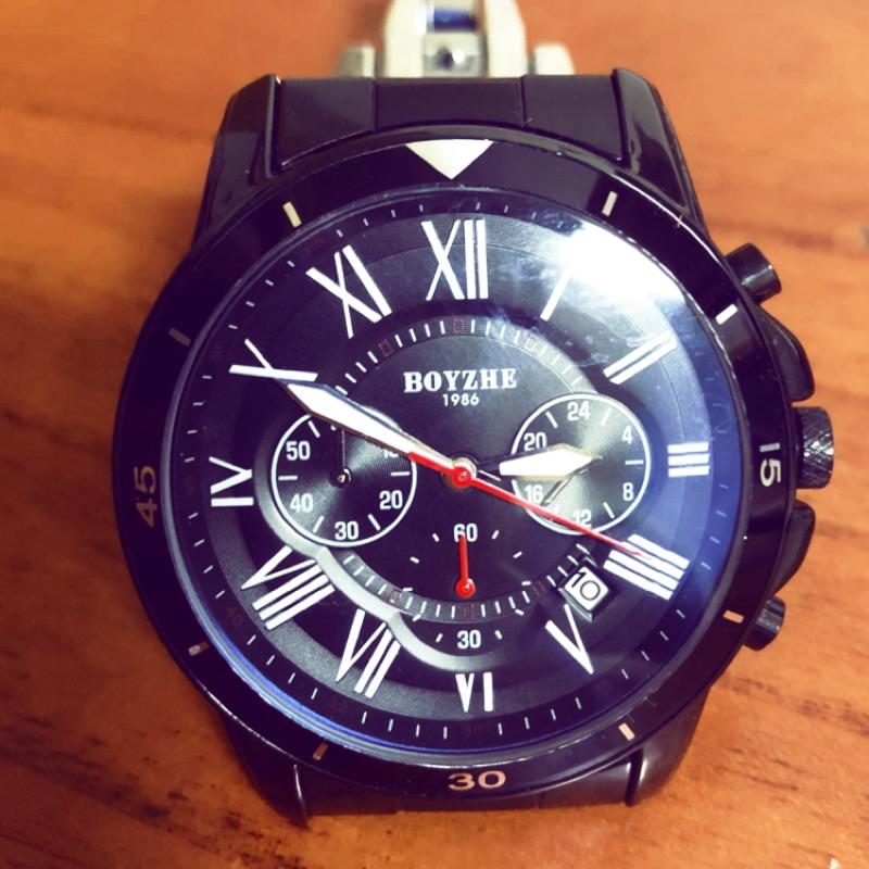 隨便賣 買就換全新電池 Boyzhe 超美 近全新三眼錶