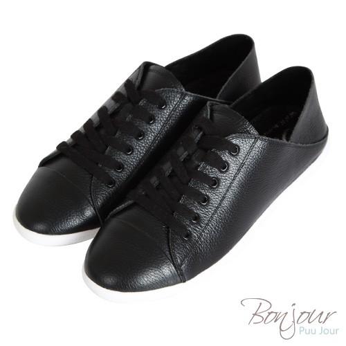 BONJOUR超好搭2WAY懶人鞋真皮休閒平底鞋小白鞋 ZB0288 黑
