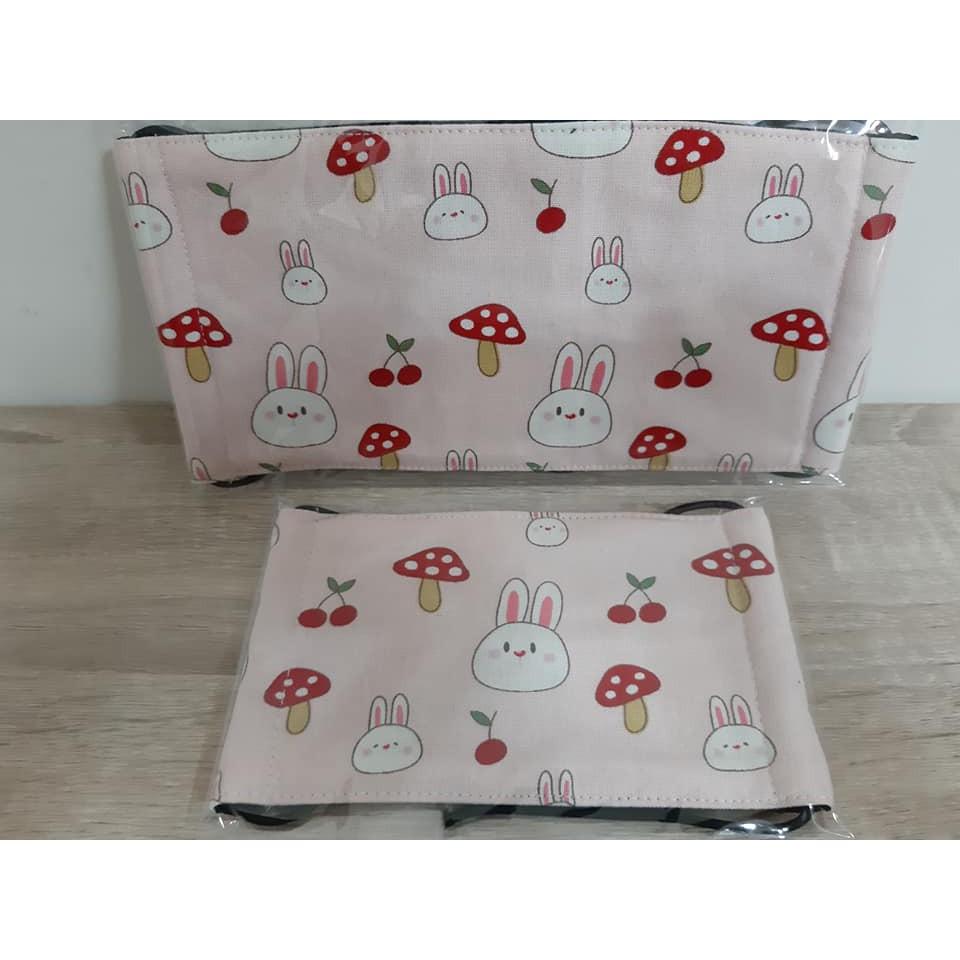 【小茉莉】手作平面口罩→大人&兒童&幼童/台灣棉布手作口罩→蘑菇小兔子-粉