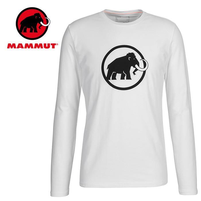 【Mammut 長毛象 瑞士】長毛象Logo 圓領長袖棉T 男款 純白色 (00870-00229)
