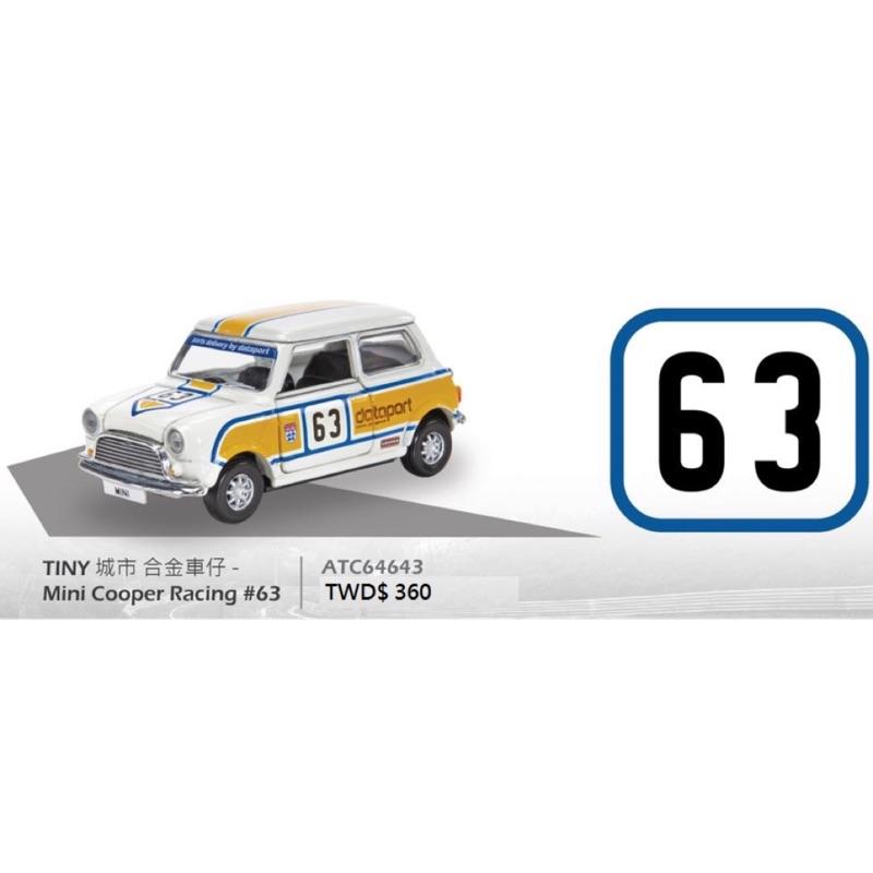 TINY  1/64 #63號。MINI COOPER RACING 黃白色