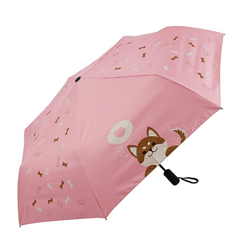 【雨傘大師】Q版柴犬 4色任選 自動傘 黑膠降溫 UPF50+超防曬 不透光 抗UV 玻纖抗風 晴雨傘 遮陽傘 雨傘