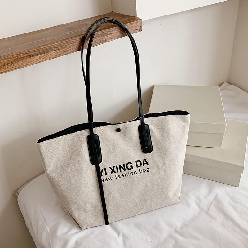 【Vintage Store】夏天時尚大包包女士新款潮學生單肩托特包軟皮大容量通勤