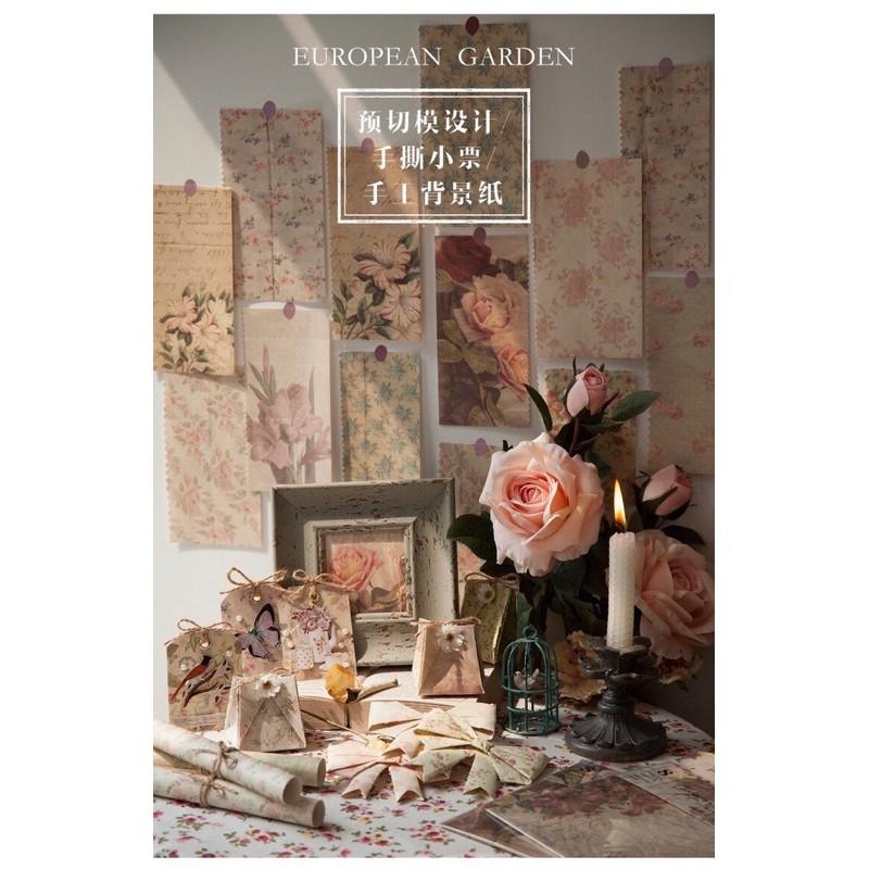 現貨 台灣賣家 歐洲花園系列 陌境 花朵 花邊 背景素材 手工素材紙 木質素材紙 花朵素材