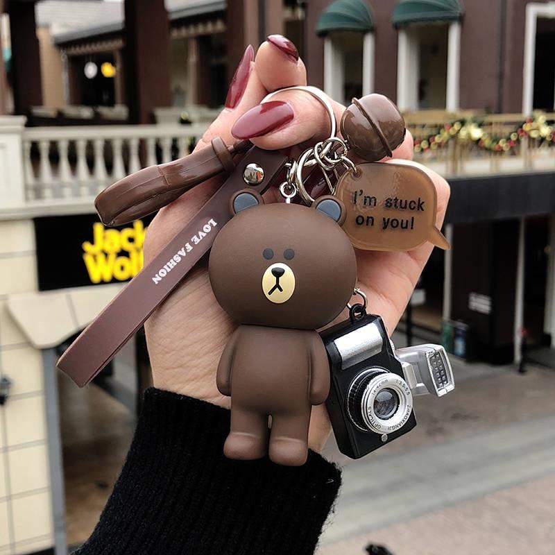 韓國創意可愛卡通小熊鑰匙扣女汽車鑰匙鏈情侶鑰匙鏈女生包掛件 Supreme潮玩Supreme潮牌Supreme配件