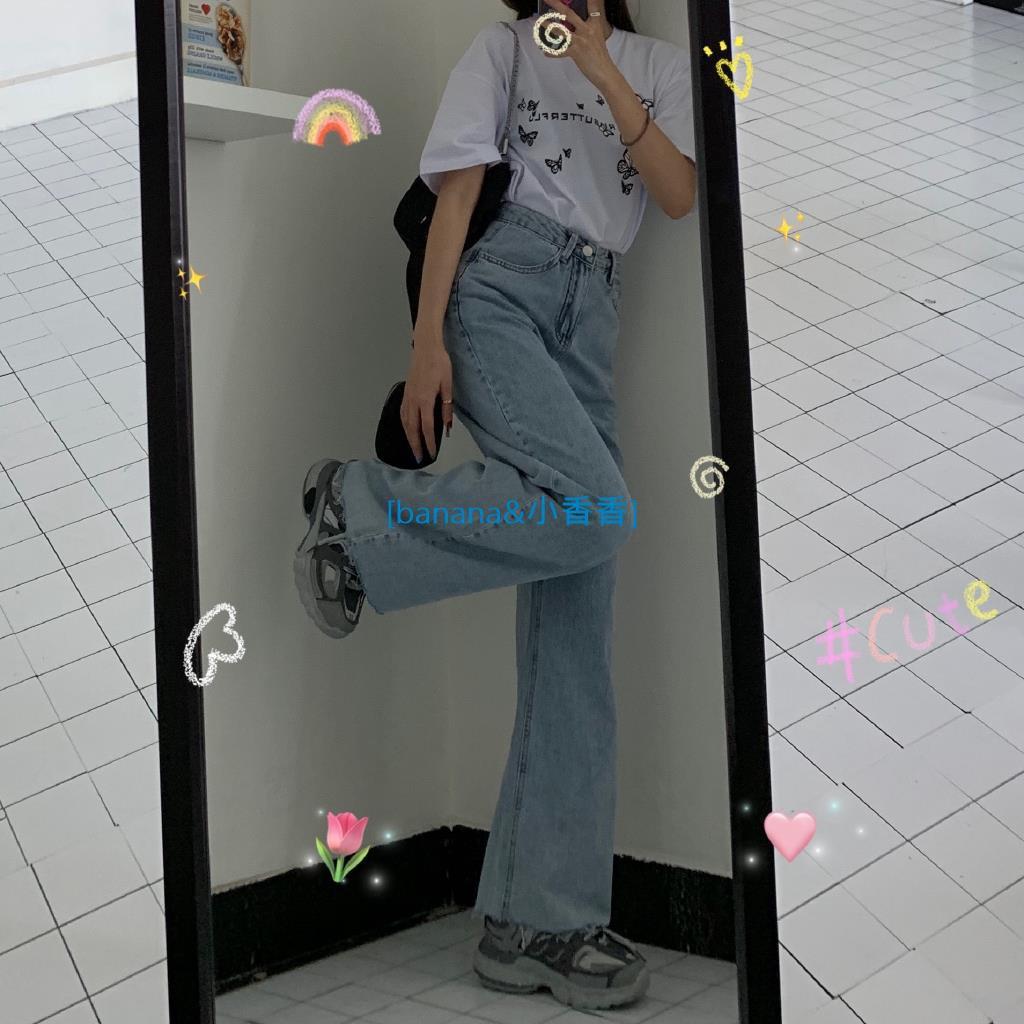 韓國 夏日bi備の 薄款🔆水洗高腰牛仔褲 毛邊拖地闊腿褲banana小香香線上商店