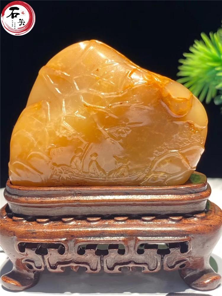 壽山石結晶體田黃擺件滿絲田黃凍印章雕刻件泛舟帝王石帶鑒定證書