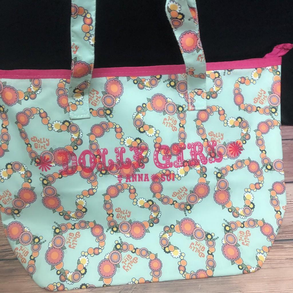 日本Non-no雜誌附錄 DOLLY GIRL BY ANNA SUI 綠色愛心花朵托特包手提包肩背包