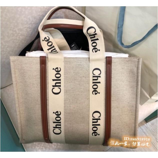 專櫃正品Chloe Medium Woody tote 購物包 Chloe tote bag帆布托特包 2021