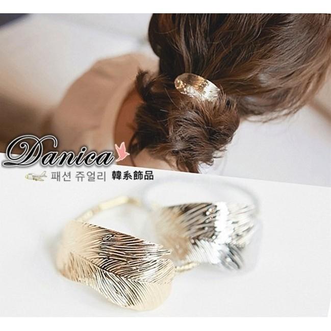 髮束 現貨 韓國 熱賣 氣質 金屬 森林系閃亮 葉子 髮飾(2色) K7442 批發價 Danica韓系飾品 韓國連線