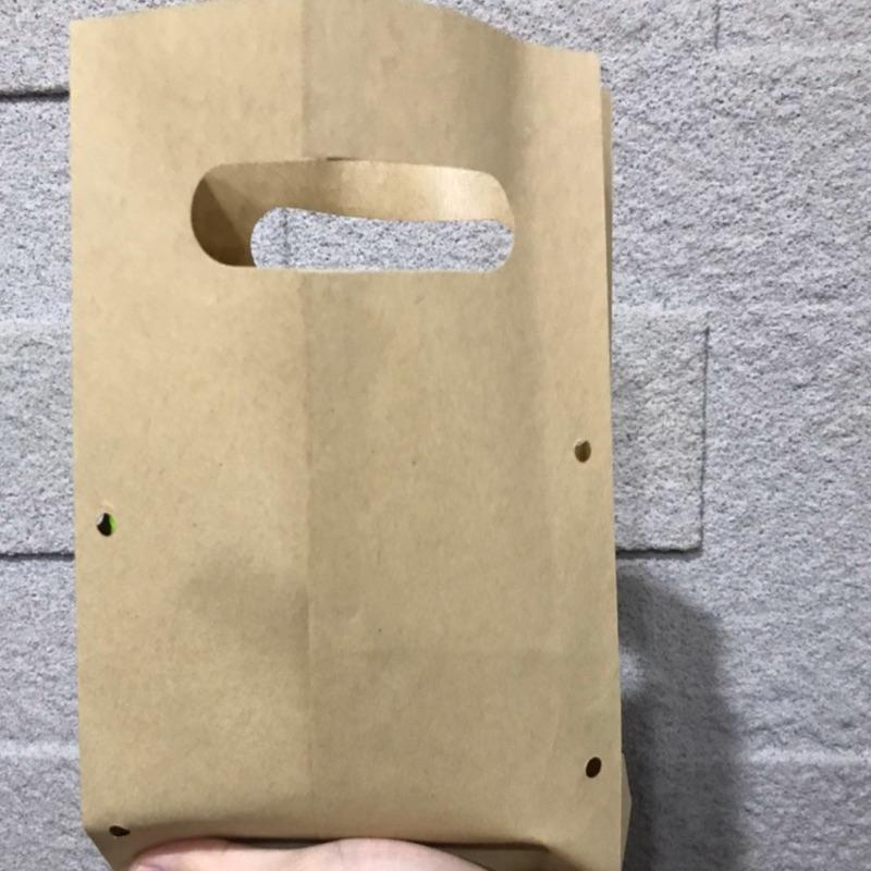 《現貨免運2400張》牛皮紙袋/防油紙袋/手提紙袋/打洞紙袋/雞蛋糕/紅豆餅/炸物牛皮紙袋/牛皮提袋-防燙手防油手提打洞