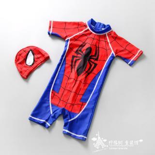 男童 連身泳衣 小童 蜘蛛人 美國隊長 圖案 泳衣 小寶寶蜘蛛俠速干防曬 baby 小男孩 嬰幼 兒童泳裝套