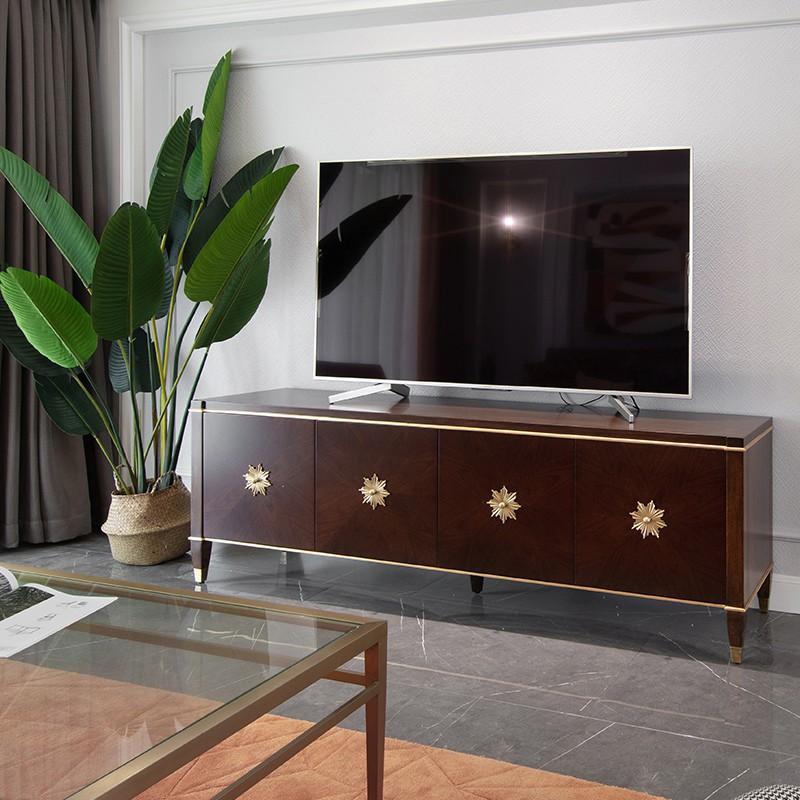 【舒心家居】美式風格電視柜輕奢實木小戶型客廳茶幾電視柜組合桃花心木電視柜