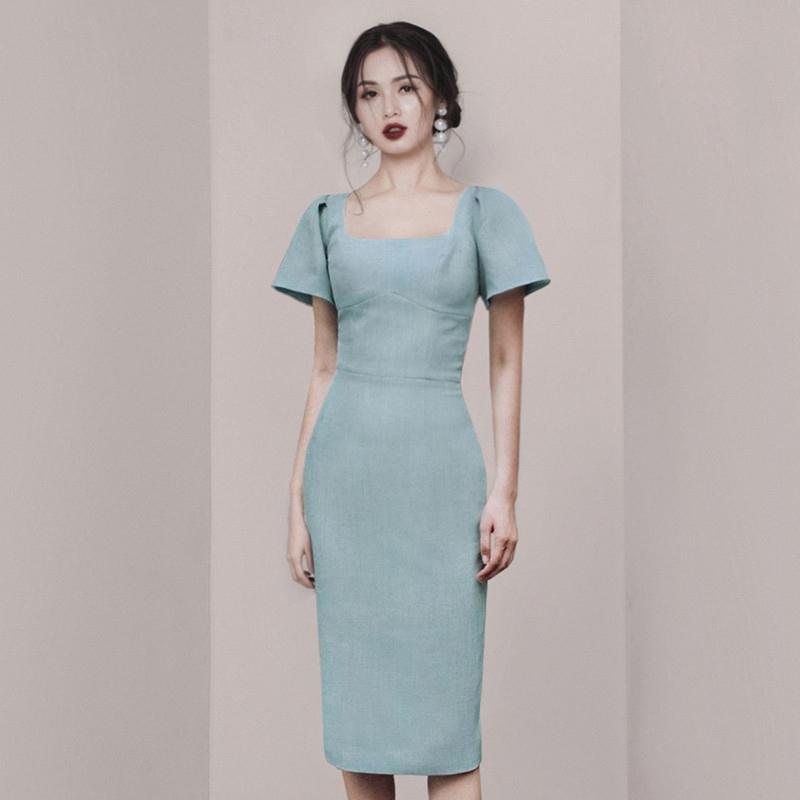 正韓洋裝方領短袖氣質合身中長洋裝宴會禮服