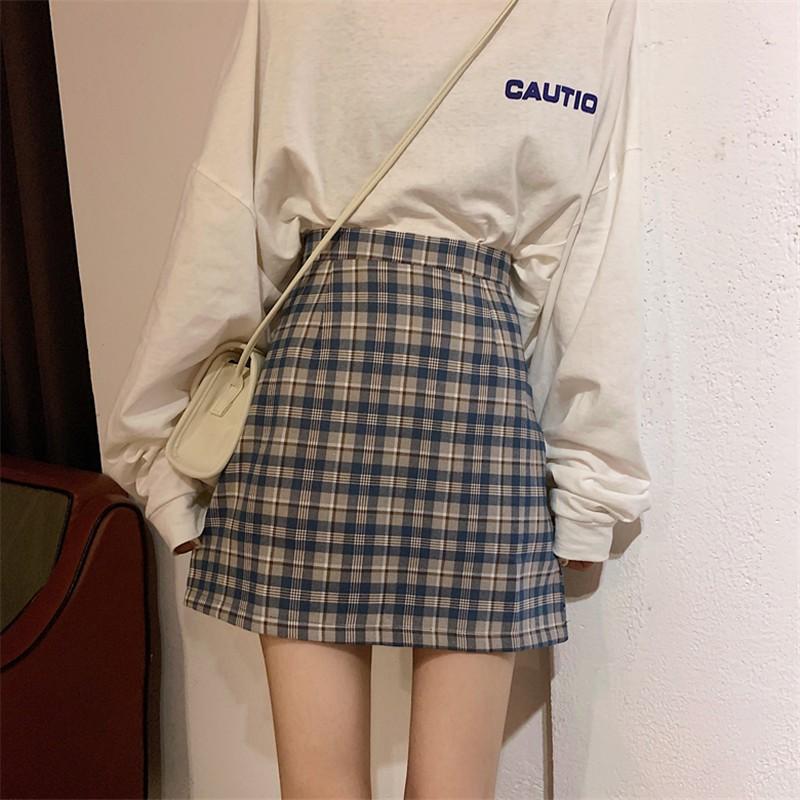 赫本風半身裙女2020年夏季新款高腰格子 A字裙學生復古包臂短裙潮