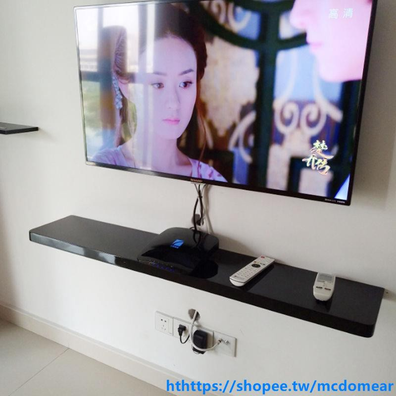 熱賣#電視背景牆裝飾架牆面電視櫃機頂盒架壁掛牆上置物架壁櫃一字隔板