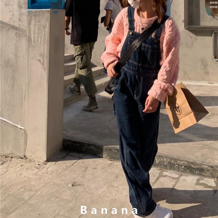 韓國ins百搭牛仔連身褲 學院簡約闊腿褲 吊帶褲 顯瘦直筒牛仔褲 背帶褲 女生衣著 寬鬆拖地長褲 休banana線上商店