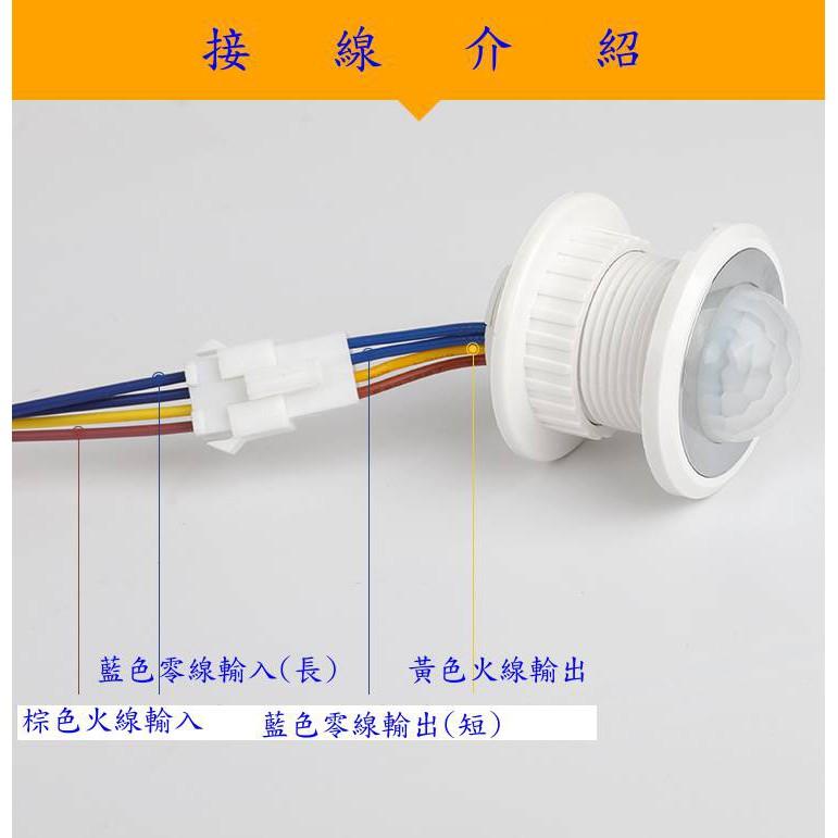 【泰祥】紅外線人體感應開關嵌入式探頭感應器感光延時可調LED感應開關