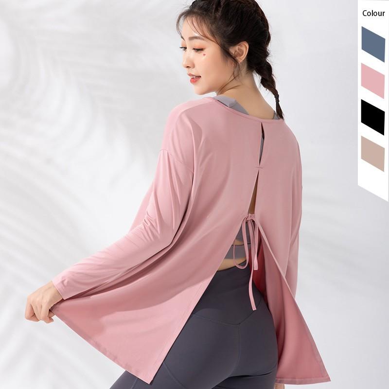 新品運動上衣女寬松顯瘦網紅健身服跑步罩衫速干T恤長袖瑜伽服