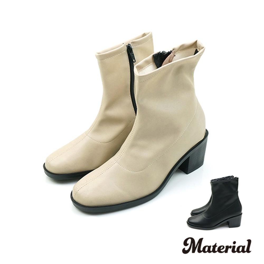 短靴 簡約素面粗跟短靴 T9386