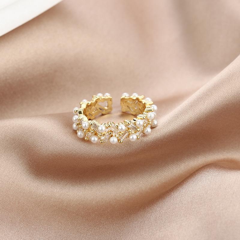 高級感輕奢鑲鑽珍珠戒指小眾設計法式復古開口戒潮氣質百搭食指戒A029