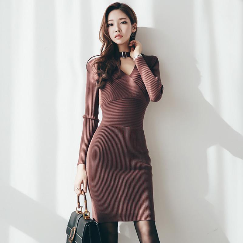 秋冬洋裝 高腰顯身材彈力針織洋裝長袖包臀連身裙中長打底洋裝內搭連衣裙