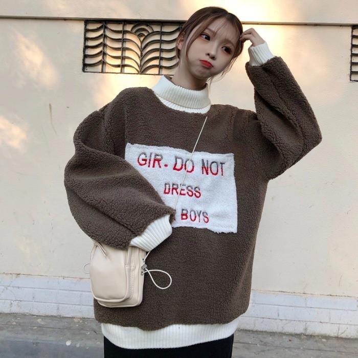 ۩♨2020秋冬季新款韓版寬松貼補字母加厚仿羊羔毛高領套頭衛衣外套女