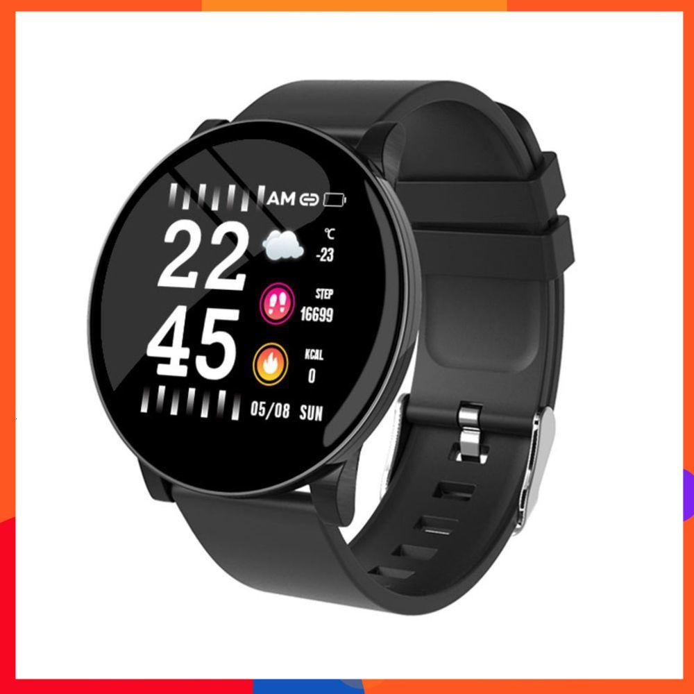 W8圓款運動計步心率監測血氧血壓鬧鐘多功能手錶熱賣智慧手環