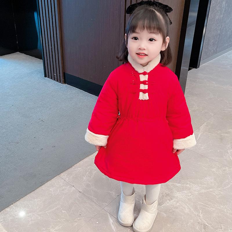 2021年童裝新款 女童唐裝棉衣旗袍年服冬中國風漢服加厚過年衣服寶寶新年裝童裝潮