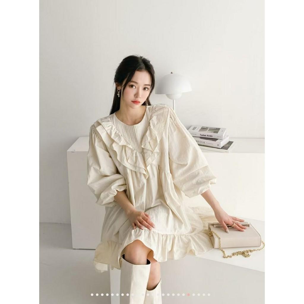 Ms.Huang_荷葉假V領雪紡洋裝(2色)