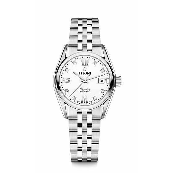 TITONI 瑞士梅花錶 23909S-063 空中霸王雙色經典機械腕錶/白面 27mm