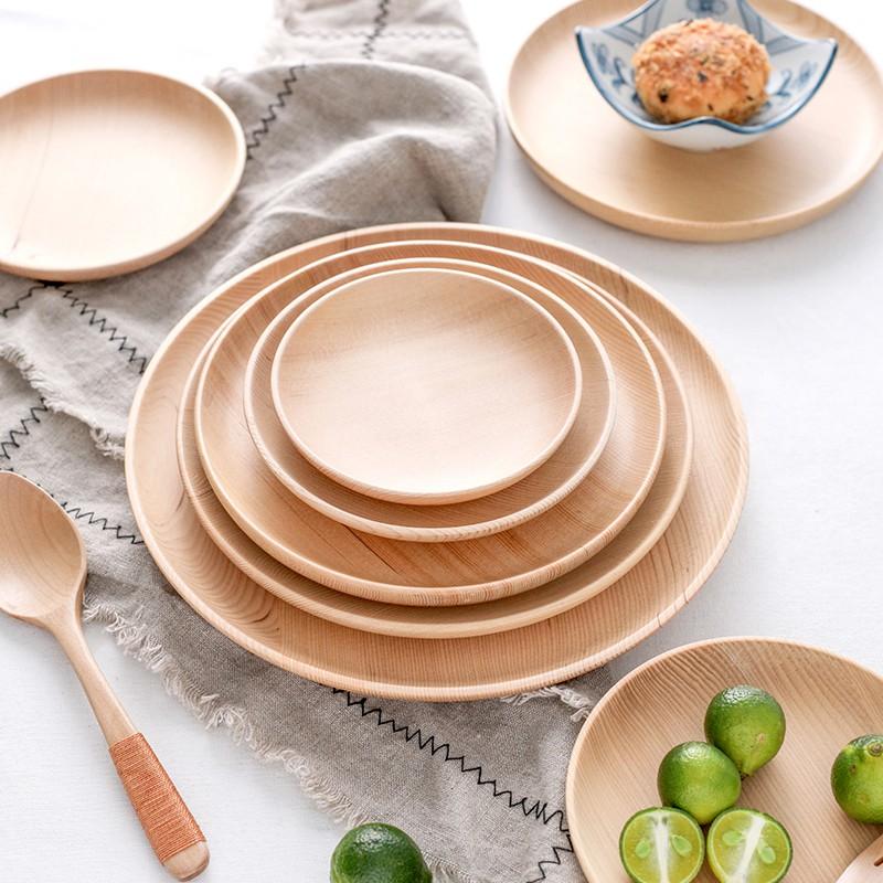 P&K優品館圓形櫸木托盤 實木披薩盤 餐盤 麵包水果盤子 家用實木寶寶分隔盤餐盤 餐具