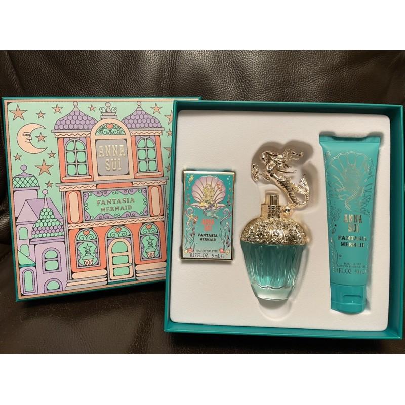 法意公司貨 Anna sui 安娜蘇 美人魚城堡假期禮盒 女性淡香水 50ml+小香沾式5ML+身體乳90ML 禮盒