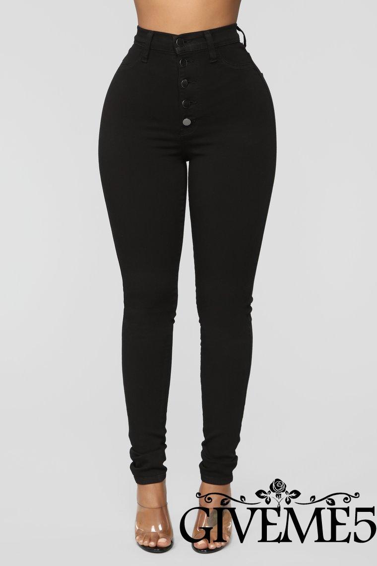 GIVEME-女牛仔褲,女士純色高腰鉛筆褲緊身褲,S / M / L / XL / XXL