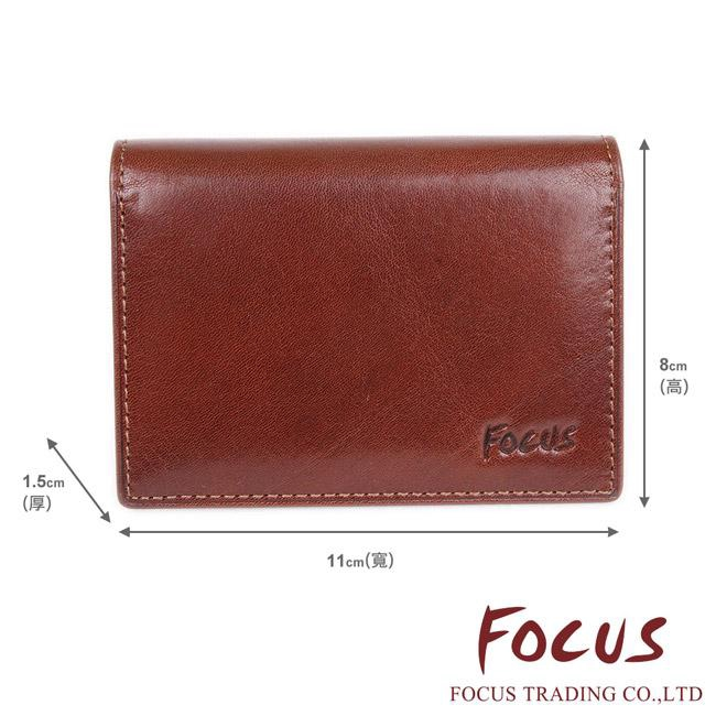 FOCUS 經典原皮 2卡透明窗錢包 名片短夾 咖啡色 FTB1127 廠商直送 現貨