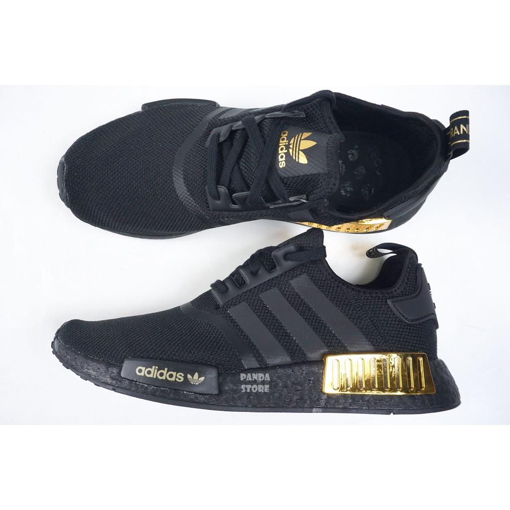 胖達)ADIDAS ORIGINALS NMD_R1 BOOST 緩震 運動鞋 H67844 黑金 男女鞋