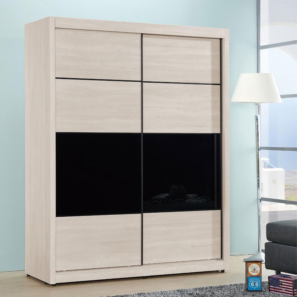 【150.5cm推門衣櫃-A021-3】木心板 推門滑門開門 衣服收納 免組裝 【金滿屋】