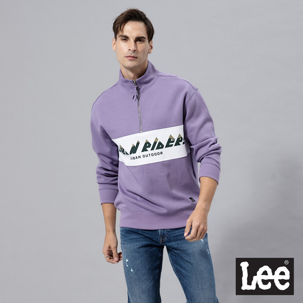 Lee 撞色拼接長袖立領半開襟厚T 男 紫 Urban Riders