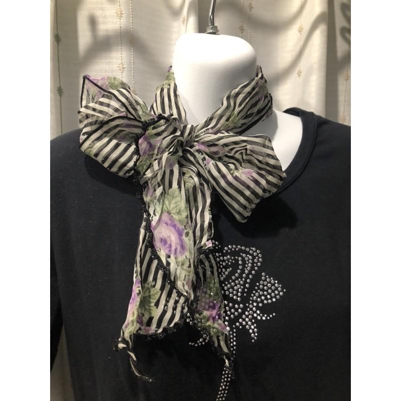 ANNA SUI 日本製 100%絲 黑白條紋 淡紫玫瑰 絲巾 領巾 八成新