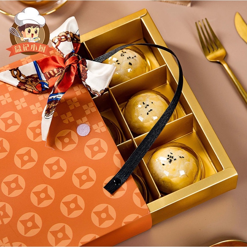 【愛馬仕月餅禮盒!!🌈】蛋黃酥 月餅包裝盒 高檔 新款橙色絲帶 月餅禮盒包裝盒子創意 高檔手提包月餅禮盒
