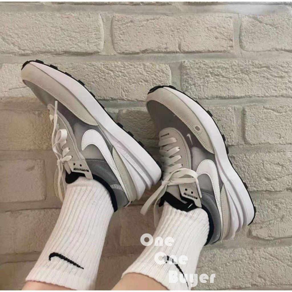 韓國代購Nike Waffle One 小Sacai 灰白 米白 解構 透明 女鞋男鞋 休閒鞋 DA7995-100