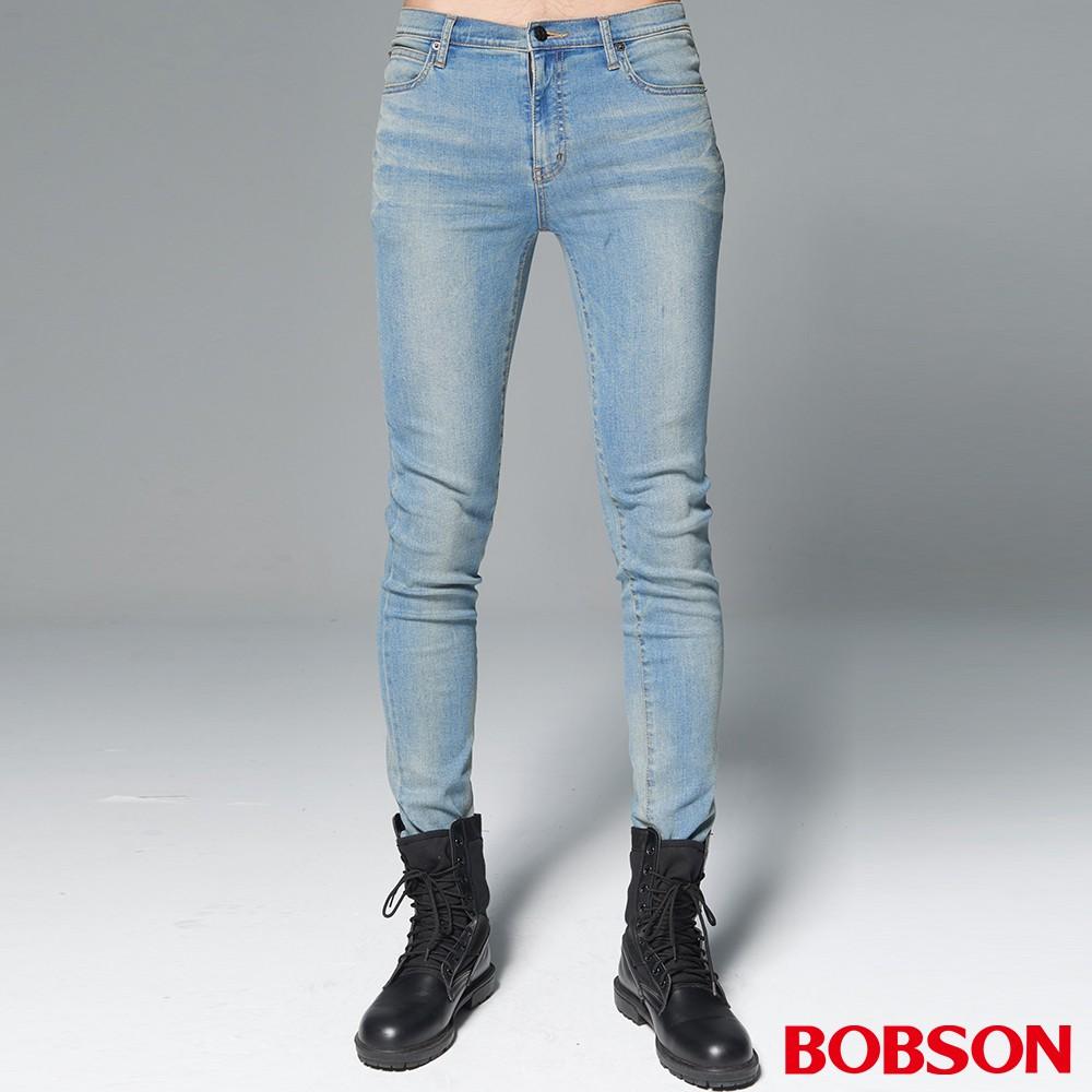 """BOBSON 男款1971""""日本黑標""""淺藍刷白大彈力窄管褲BSH013-FE"""
