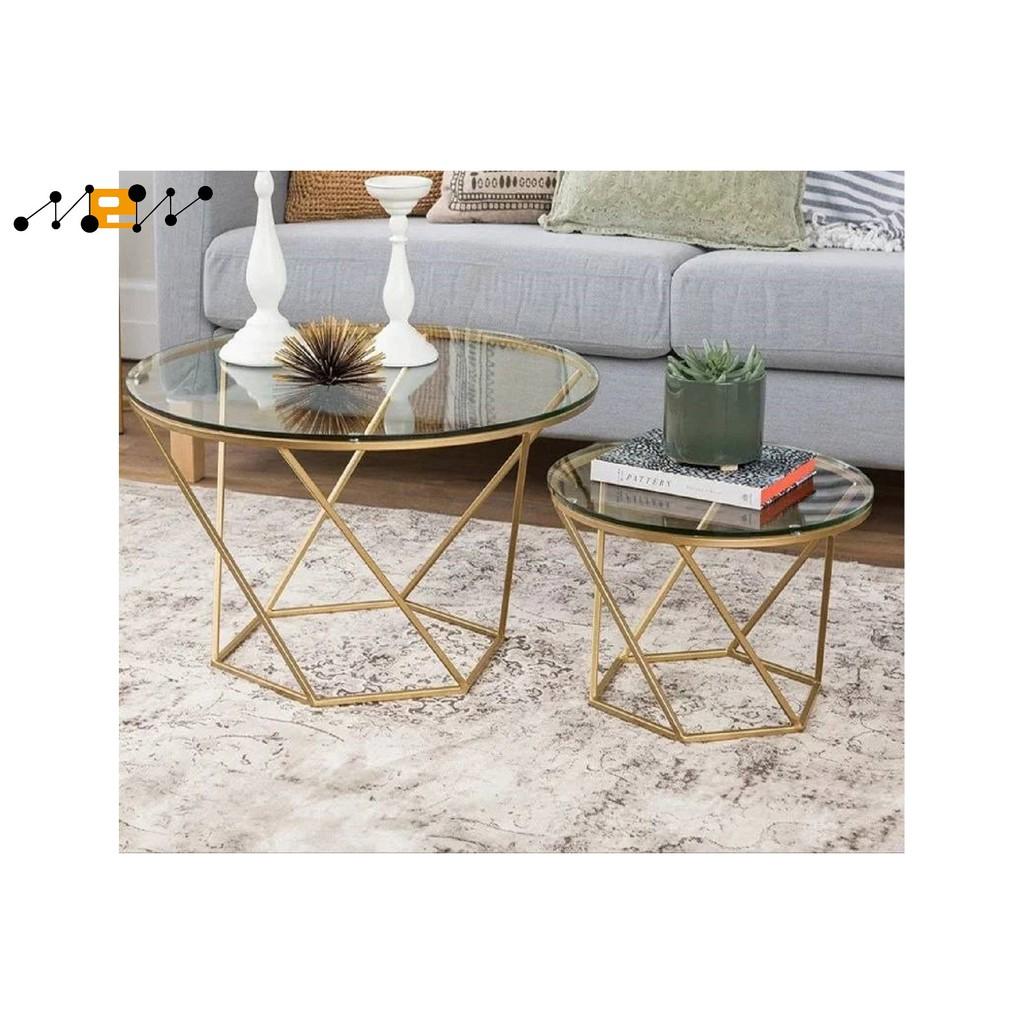 042北歐簡約客廳鐵藝鋼化玻璃茶几圓形組合幾何时尚創意小户型桌子