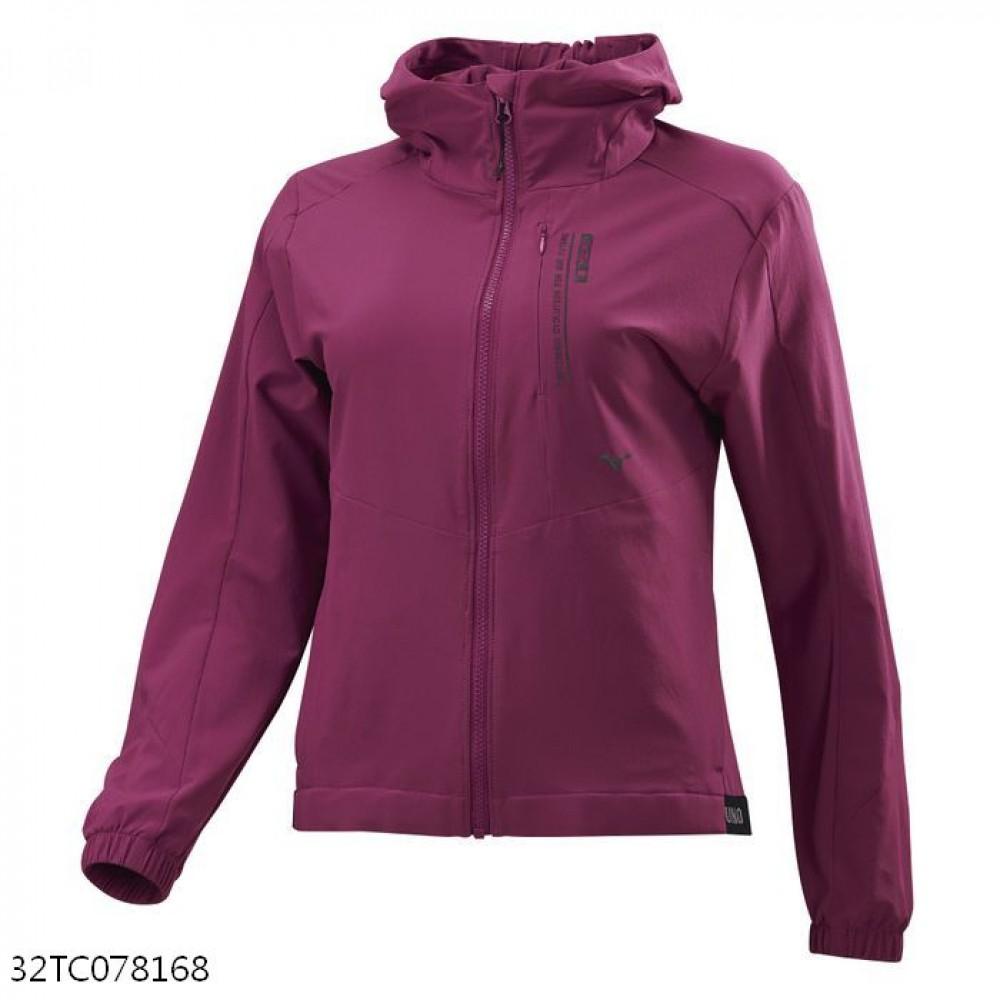 MIZUNO 女裝 連帽外套 套裝 抗紫外線 4WAY彈性 口袋拉鍊 紫紅【運動世界】32TC078168