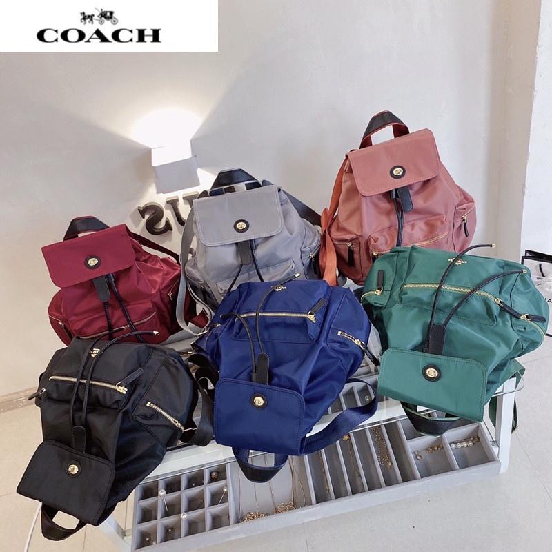 Coach蔻馳後背包 雙肩包 戶外旅行背包 學院風 休閒女背包 翻蓋抽繩大容量書包