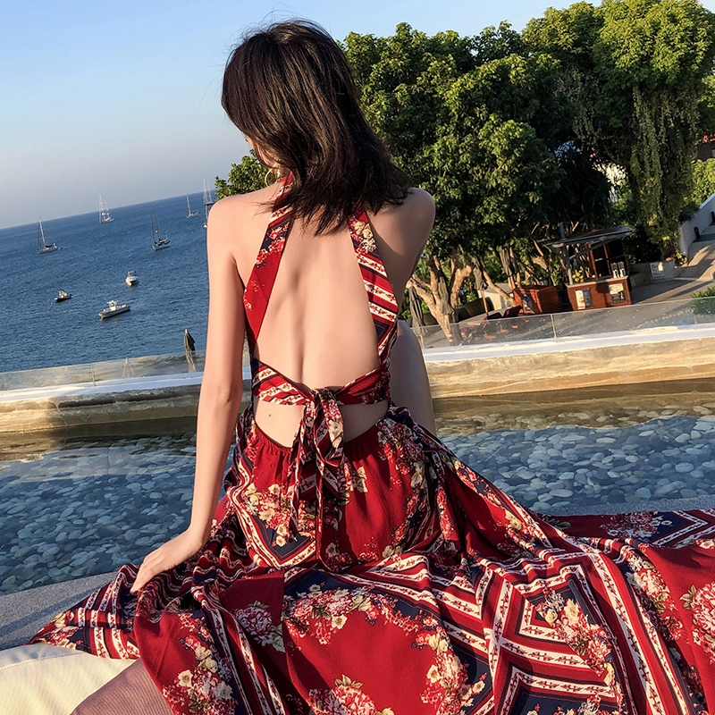 馬爾地夫海島度假風泰國民族風露背掛脖連衣裙性感蕾絲巴厘島沙灘長裙性感洋裝長洋連身裙女神氣質度假裙